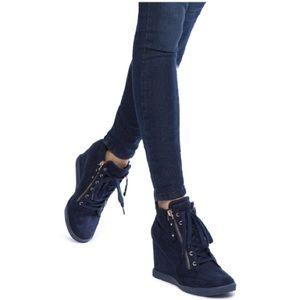 SHOEDAZZLE* Giomara Black Wedge Street Sneaker 11
